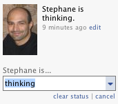 "Facebook, standard interface, with non editable ""is""."