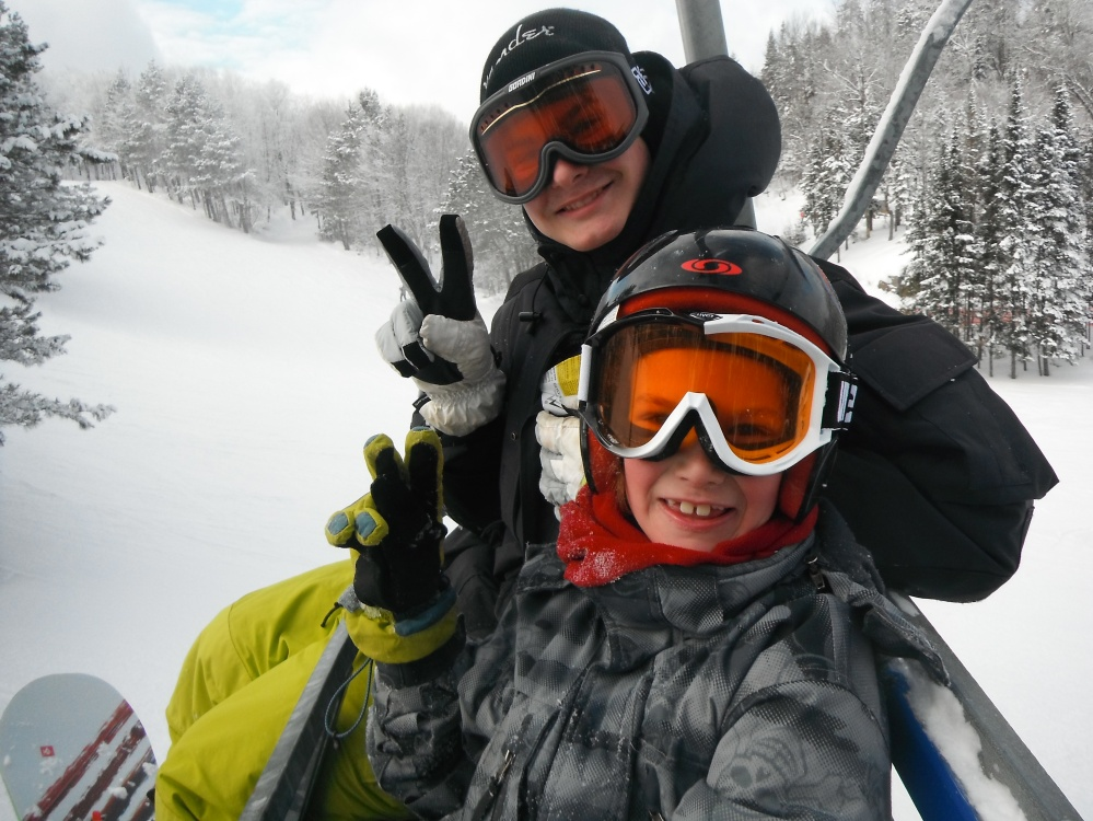 Teagan and Kyran, saying hello from the Mont Avalanche chairlift.